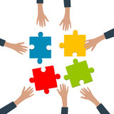 Team work concept. Team work ,hands with jigsaw puzzle,isolated on white background stock illustration