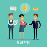Team Work Concept Illustration in Flat Design. Royalty Free Stock Photo