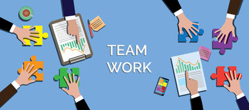 Team work concept together use puzzle or jigsaw vector Stock Photo