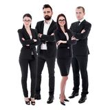 Team work concept - young business people in black suits isolated on white stock image