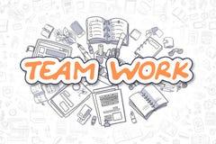 Team Work - Doodle Orange Text. Business Concept. Stock Photos
