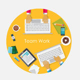 Team Work Flat Concept Vector-Illustratie Royalty-vrije Stock Foto