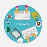 Team Work Flat Concept Vector illustration Fotografering för Bildbyråer