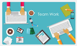 Team Work Flat Concept Vector illustration Royaltyfri Foto