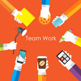 Team Work Flat Concept Vector Illustration. EPS10 Royalty Free Stock Photo
