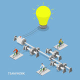 Team work flat isometric vector concept. Stock Photography