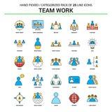 Team Work Flat Line Icon ha fissato - la progettazione delle icone di concetto di affari royalty illustrazione gratis