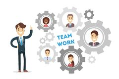 Team work gears. Boss with his employees vector illustration