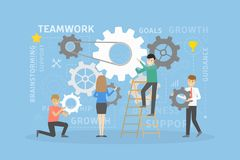 Team work gears. Men and women working together vector illustration