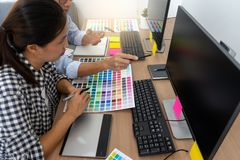 Team work for graphic design working stock photos