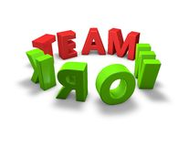 Team work green and red 3d text in a ring illustration  on white Royalty Free Stock Image