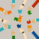 Team work hand holding pieces of jigsaw puzzle try to solve problem together. business concept of synergy in flat Royalty Free Stock Photos