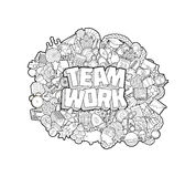 Team Work - Hand Lettering and Doodles Elements Sketch.  Vector Illustration. Team Work - Hand Lettering and Doodles Elements Sketch Royalty Free Stock Image