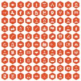 100 team work icons hexagon orange. 100 team work icons set in orange hexagon isolated vector illustration Royalty Free Stock Images