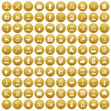 100 team work icons set gold. 100 team work icons set in gold circle isolated on white vector illustration vector illustration