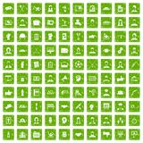100 team work icons set grunge green. 100 team work icons set in grunge style green color isolated on white background vector illustration Stock Images