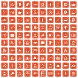 100 team work icons set grunge orange. 100 team work icons set in grunge style orange color isolated on white background vector illustration Stock Illustration