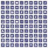 100 team work icons set grunge sapphire. 100 team work icons set in grunge style sapphire color isolated on white background vector illustration Vector Illustration