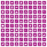 100 team work icons set grunge pink. 100 team work icons set in grunge style pink color isolated on white background vector illustration Royalty Free Illustration