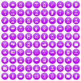 100 team work icons set purple. 100 team work icons set in purple circle isolated on white vector illustration Stock Photos