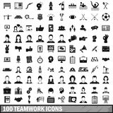 100 team work icons set in simple style Royalty Free Stock Photos