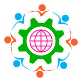 Team work. Illustration of gear globe and people on team work concept Stock Photography