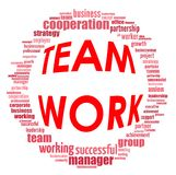 Team work info-text graphics and arrangement concept. (word cloud) on white background Royalty Free Stock Images