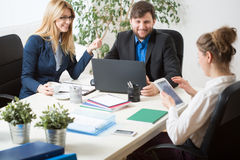 Team work inside the office Royalty Free Stock Image