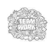 Team Work - iscrizione della mano e schizzo degli elementi di scarabocchi Illustrazione Vettoriale