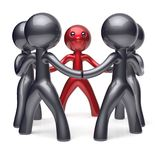 Team work leader leadership men character teamwork circle. People stylized social network human resources individuality friendship team cartoon friends unity Royalty Free Stock Images
