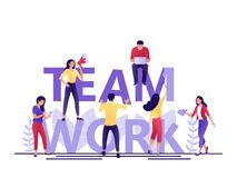 Team work letters. Little people build word teamwork together. Creating a business project. Flat concept vector illustration for stock illustration