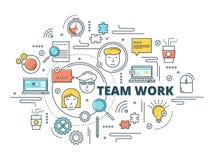 Team Work Linear Design Images libres de droits