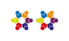 Team Work Logo - gerundetes Team Work Union People Logo-Schablonen-Kreisgeschäft Team United Logo stock abbildung