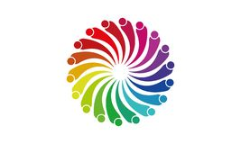 Team Work Logo - gerundetes Team Work Union People Logo-Schablonen-Kreisgesch?ft Team United Logo stock abbildung