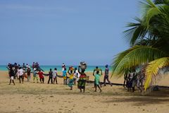 Team work: fischermen catch up net at the beach of togo stock photos