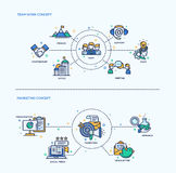 Team Work, Marketing  Icons Business Concept Compositions Set Royalty Free Stock Photography