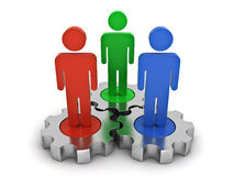 Team work on metal gears business concept on white Royalty Free Stock Photo