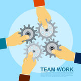 Team work. Picture of four hands holding gears, flat style illustration concept for team work concept vector illustration