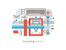 Team work production flat line illustration Royalty Free Stock Photo