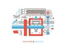 Team work production flat line illustration Royalty Free Stock Photo