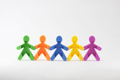Team work rubber people holding hands Royalty Free Stock Photography