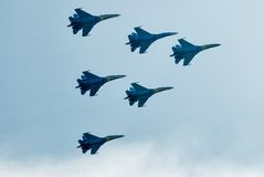 Team work of russian fighters SU-27 knights Royalty Free Stock Images
