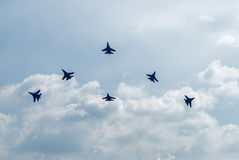 Team work of russian fighters SU-27 knights Stock Photo