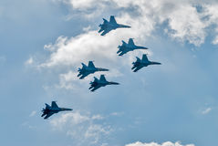 Team work of russian fighters SU-27 knights Royalty Free Stock Image