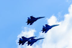 Team work of russian fighters SU-27 knights Royalty Free Stock Photo