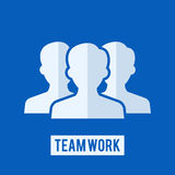 Team work sign. Flat icon of team on blue background vector illustration