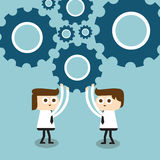 Team work. Teamwork works together to build a gear system Royalty Free Illustration