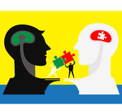 Team work: Think together. Two brain get puzzles match Royalty Free Stock Photography