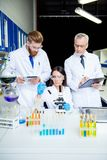 Team work of three. Group of scientists are working for invent t stock images
