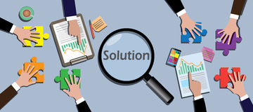 Team work together to find a solution vector. Illustration Royalty Free Stock Photos